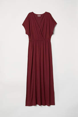 H&M Long Wrap-front Dress - Red