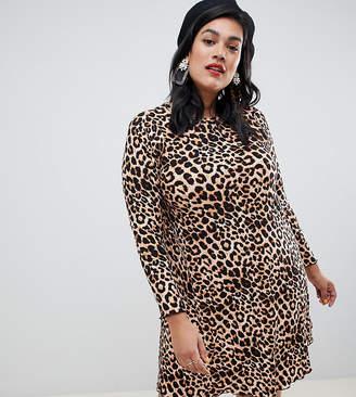 New Look Plus Curve print dress in leopard