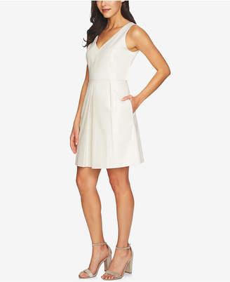 CeCe Metallic Jacquard Fit & Flare Dress