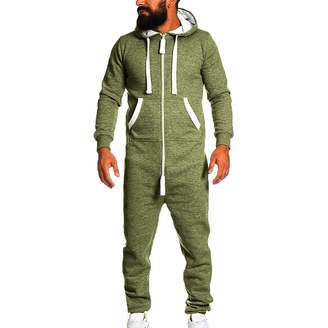 43d1a7b86bf Hotcl Men s Unisex Soft Warm Onesie Hoodie Jumpsuit One Piece Non Footed  Pajama Playsuit with Kangro