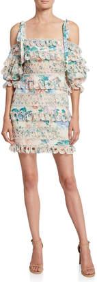 Zimmermann Verity Tiered Cold-Shoulder Linen Dress