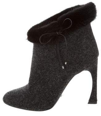 Christian Dior Mink-Trimmed Songe Booties