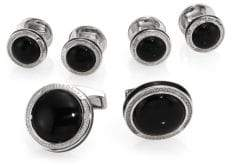 Tateossian Onyx Sterling Silver Cuff Links