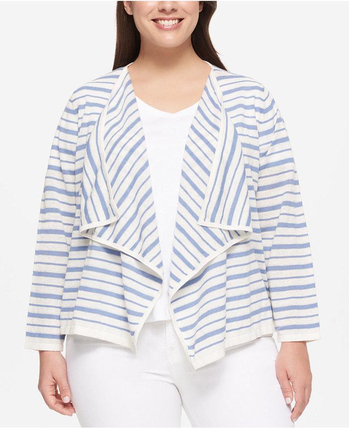 Tommy HilfigerTommy Hilfiger Plus Size Striped Open-Front Cardigan