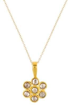 14K Rose Cut Diamond Pendant Necklace