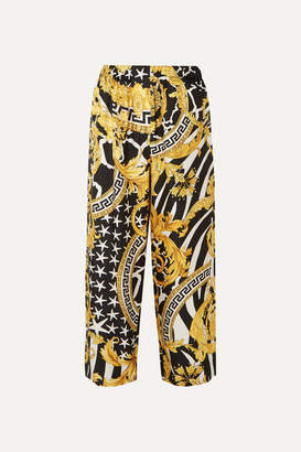 Versace Printed Silk-twill Straight-leg Pants - Yellow