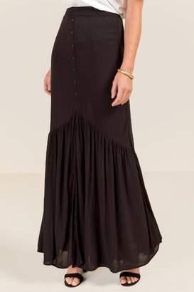 francesca's Erin Button Front Maxi Skirt - Black