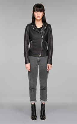 Mackage SKYLA Classic leather moto jacket with asymmetrical zipper