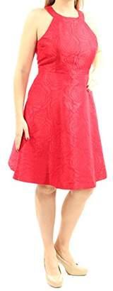 Calvin Klein Women's Halter Neck Fit and Flare Multi Color Brocade Dress