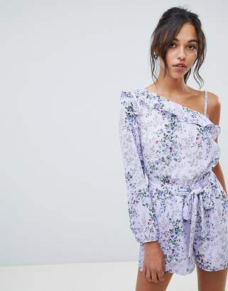 Oasis romper in ditsy floral print with tie waist