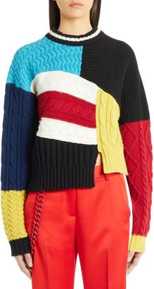 MSGM Pieced Cable Knit Sweater
