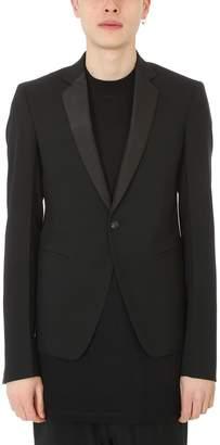 Rick Owens Black Tuxed Wool Blazer