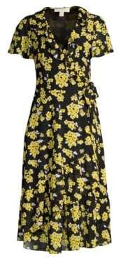 MICHAEL Michael Kors Ruffled Floral Midi Wrap Dress