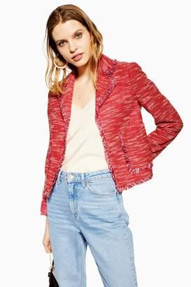 Topshop Red Fringe Jersey Boucle Jacket