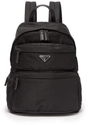 Prada Logo Plaque Nylon Backpack - Mens - Black