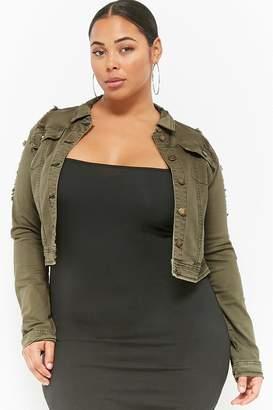 Forever 21 Plus Size Distressed Denim Jacket