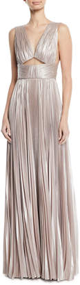 J. Mendel V-Neck Cutout-Waist Plisse Column Evening Gown