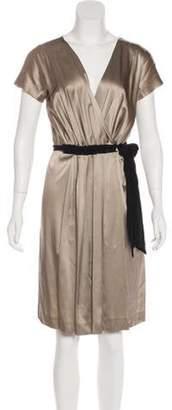 Max Mara Silk-Blend Wrap Dress Gold Silk-Blend Wrap Dress