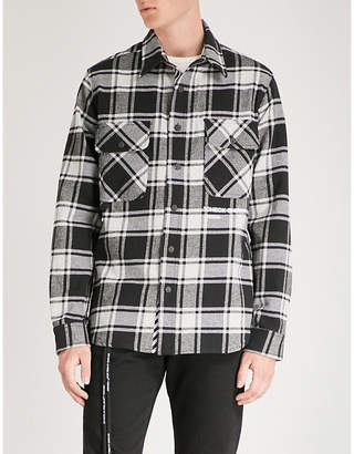 Off-White Check Shirt-print brushed cotton-blend shirt
