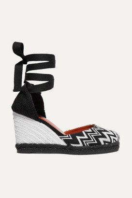 Castaner + Missoni Carina 80 Crocheted Canvas Wedge Espadrilles - Black