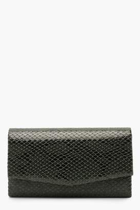 boohoo Faux Python Snake Structured Clutch