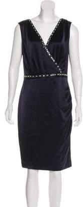 St. John Sleeveless Embelished Knee-Length Dress