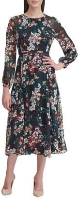 Tommy Hilfiger Floral Chiffon Midi Dress