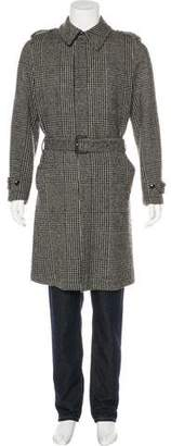 Dolce & Gabbana Houndstooth Wool Belted Coat