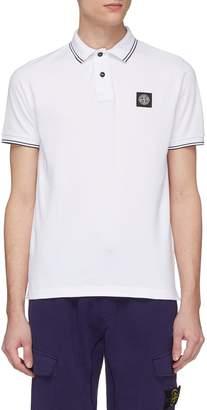 Stone Island Contrast rib logo patch polo shirt