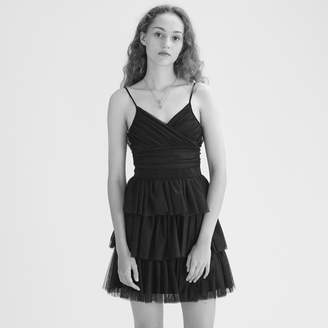 Maje Short frilled tulle dress