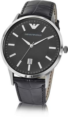 Emporio Armani Men's Black Dial Stainless Steel Date Watch