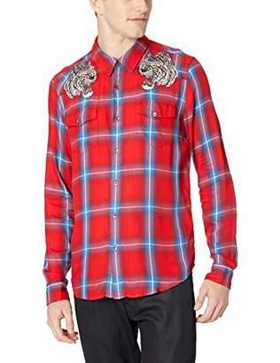 GUESS Men's Long Sleeve Formosa Plaid Shirt