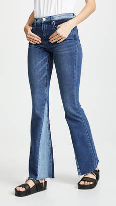 Blank Patchwork Flare Jeans