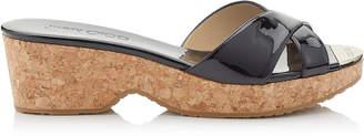 Jimmy Choo PANNA Black Patent Leather Wedge Sandals