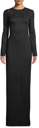 St. John Lace Overlay Jacquard Knit Gown w/ Sequins