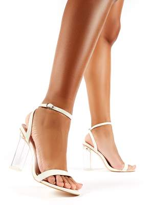 394db36d39 Public Desire Blink Croc Barely There Perspex Round Block Heels