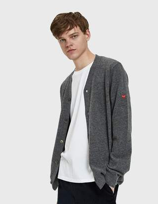 Comme des Garcons Small Red Heart Cardigan in Grey