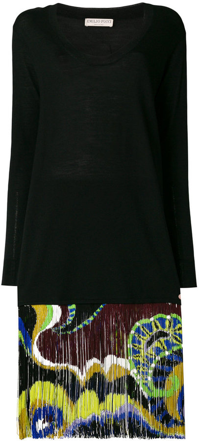 Emilio Pucci fringed sweater dress