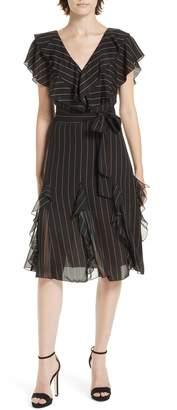 Alice + Olivia Tessa Ruffle Godet Stripe Dress