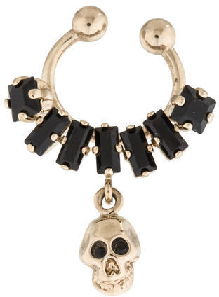 Givenchy Givenchy Black Crystal And Skull Nose Ring