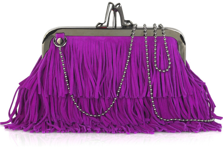 Christian Louboutin Fringed suede clutch