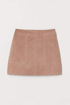 H&M Short Suede Skirt - Beige