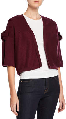 Marled by Reunited Clothing Bow-Sleeve Open-Front Cropped Cardigan