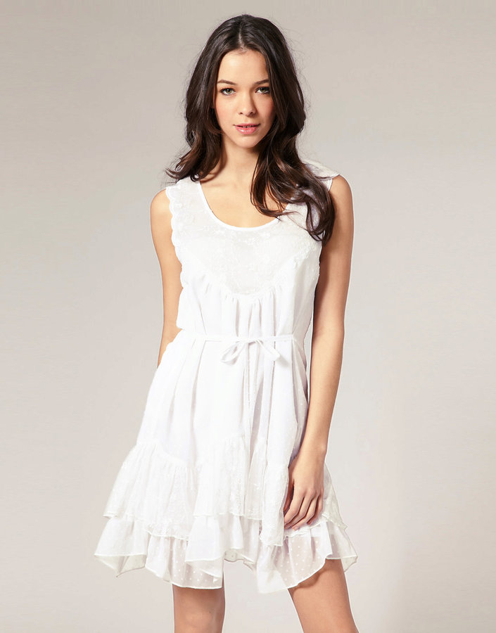 Lipsy Embroidered Yolk Tiered Smock Tunic Dress