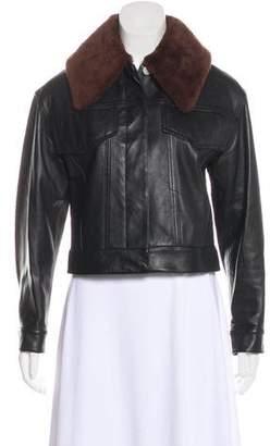 3.1 Phillip Lim Fur-Trimmed Leather Jacket