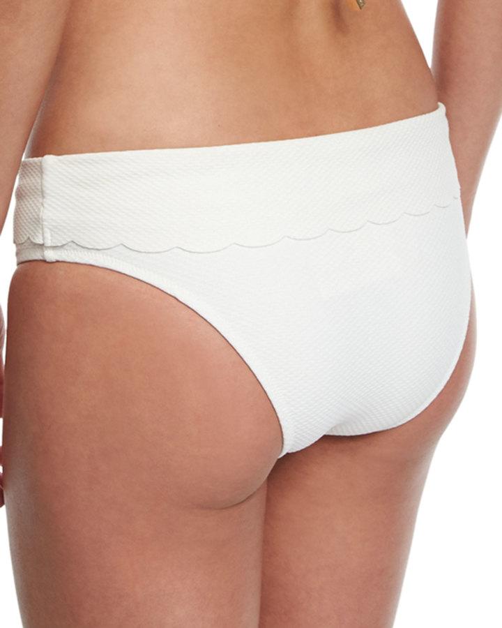 Heidi Klein Ostuni Scalloped Fold-Over Swim Bottom, White 3