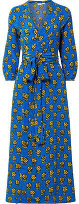 Jagger Rhode Resort Printed Silk Crepe De Chine Wrap Dress - Azure