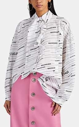 Balenciaga Women's Logo Silk Asymmetric Blouse - White