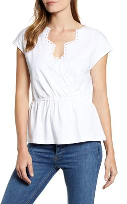 Caslon Embroidered Peplum Top