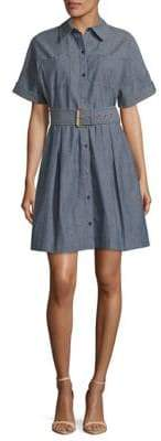 Diane von Furstenberg Short Sleeve Belted Denim Shirt Dress